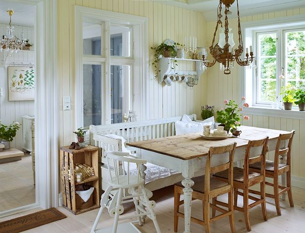 dinning room table top wood chairs wood and table legs painted white.  It looks really good!!!