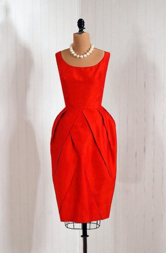 ~1950s Claudia Young Ruby-Red Silk Shantung Tulip Skirt Cocktail Dress~
