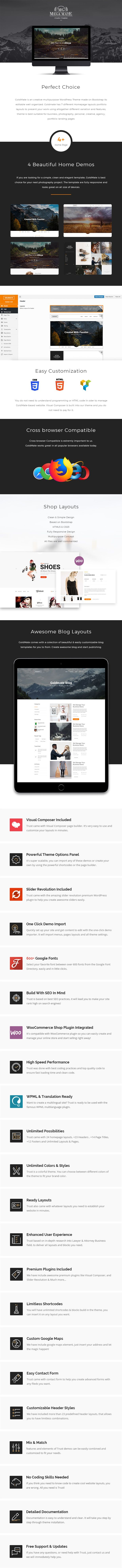 MEGAMATE is an creative multipurpose WordPress Theme made on Bootstrap its editable well organized. MegaMate has 4 different Homepage layouts portfolio layouts to present your work using altogether different variation and features, theme is best suitable for business, photography, personal, creative, agency, portfolio landing pages