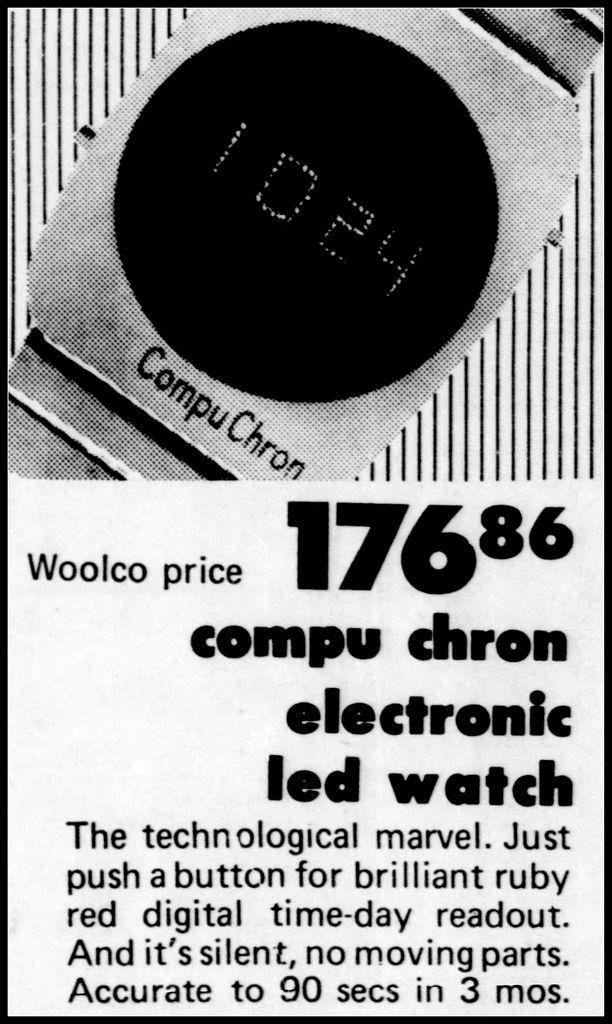 Woolco Ad for the Compu Chron Electronic LED Watch in the El Dorado Arkansas News Times, November 20, 1974