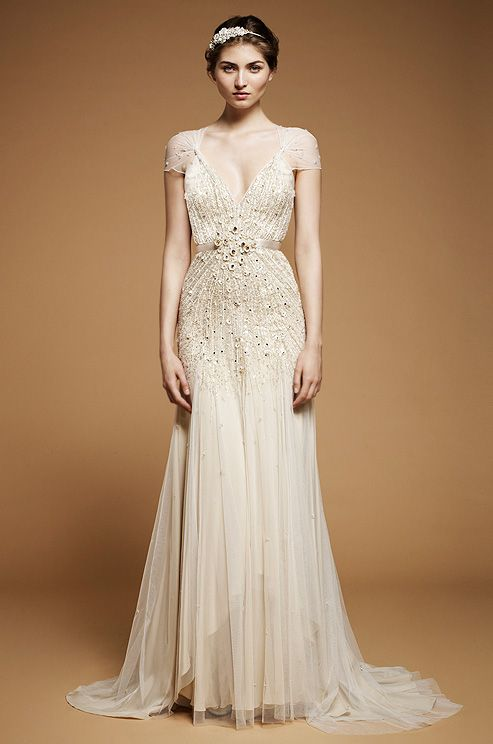 A beaded wedding dress with cap sleeves from Jenny Packham, Spring 2012