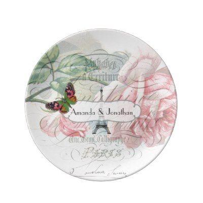 Paris Wedding Vintage Shabby-Chic Pink Rose Custom Porcelain Plates | Zazzle