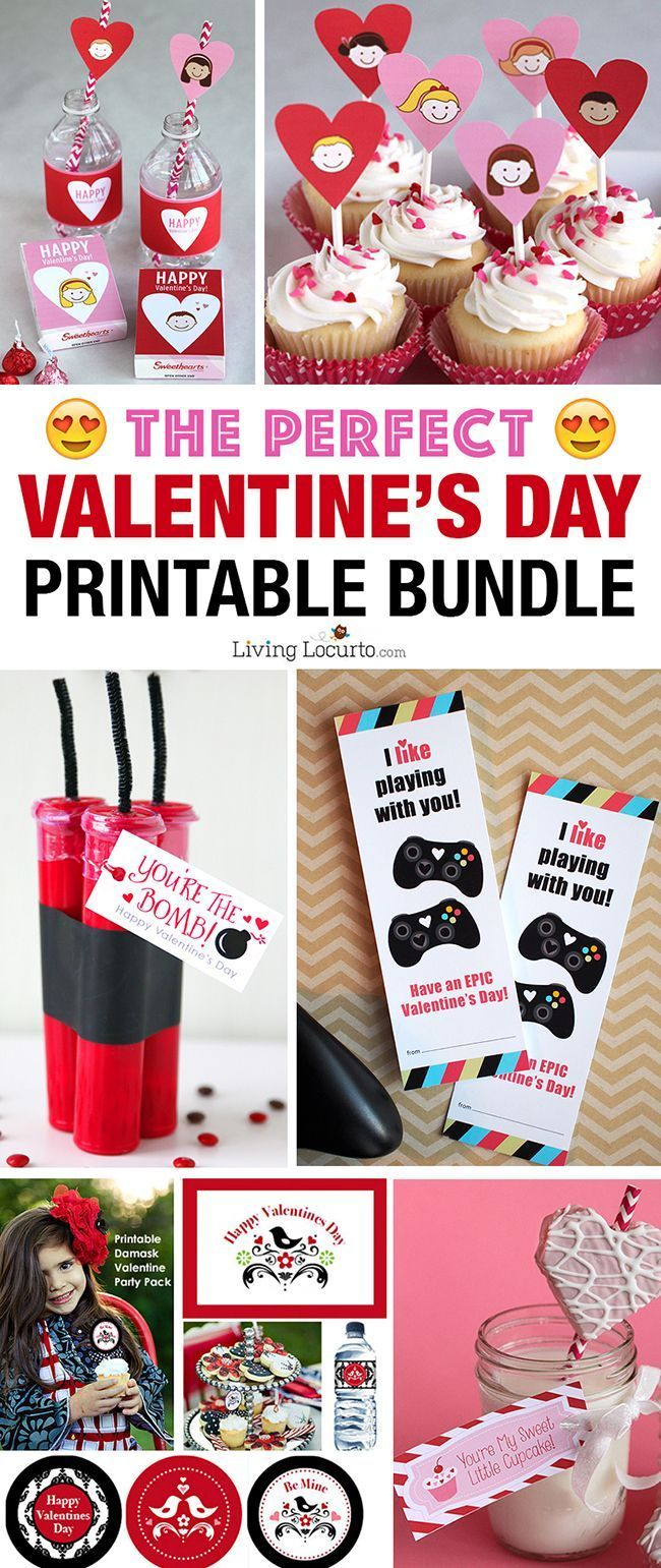 CUTE Valentines Day printables. This Valentine's Day Printable Bundle is full of the MOST ADORABLE Valentines for kids, teachers and anyone you love!