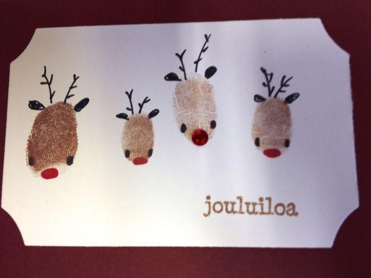 Joulukortti: porot sormenjäljistä