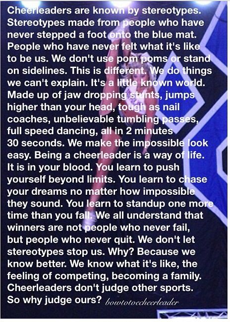 To Polly Ann, probably the most dedicated and driven cheerleading coach there ever was.  Despite any of the stereotyping, I am proud of you and what you have accomplished this year!