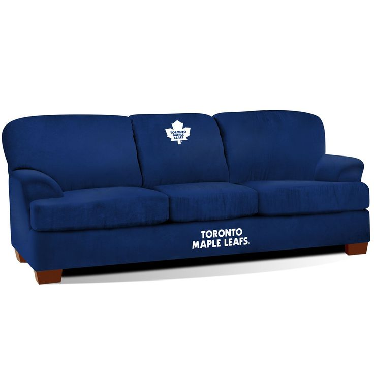 We are proud to present our newest man cave and game room sofa to the team! The Toronto Maple Leafs First Team Couch replaces the retired Pub Sofa and features a brand new look. The First Team is a li