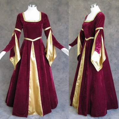 Burgundy and Gold Medieval Renaissance Gown Dress « Dress Adds Everyday