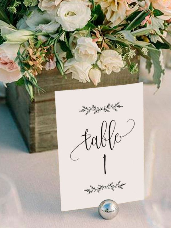 Wedding Table Numbers, Printable Table Numbers, Rustic Table Numbers, Table Numbers Wedding, 4x6, 5x7 Kraft, PDF Instant Download
