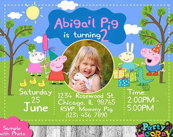 Peppa Pig Birthday Invitation Printabe por CindysEventCreations