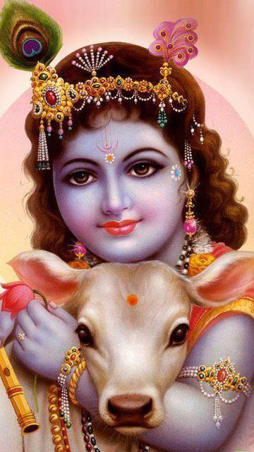 Krishna é a oitava existência terrena de Vishnu, a divindade responsável pela manutenção do Cosmos. Sua pele é retratada na cor preta ou azul-escura, conforme descrito nas Escrituras, embora em representações pictóricas modernas ele geralmente seja mostrado com pele azul.