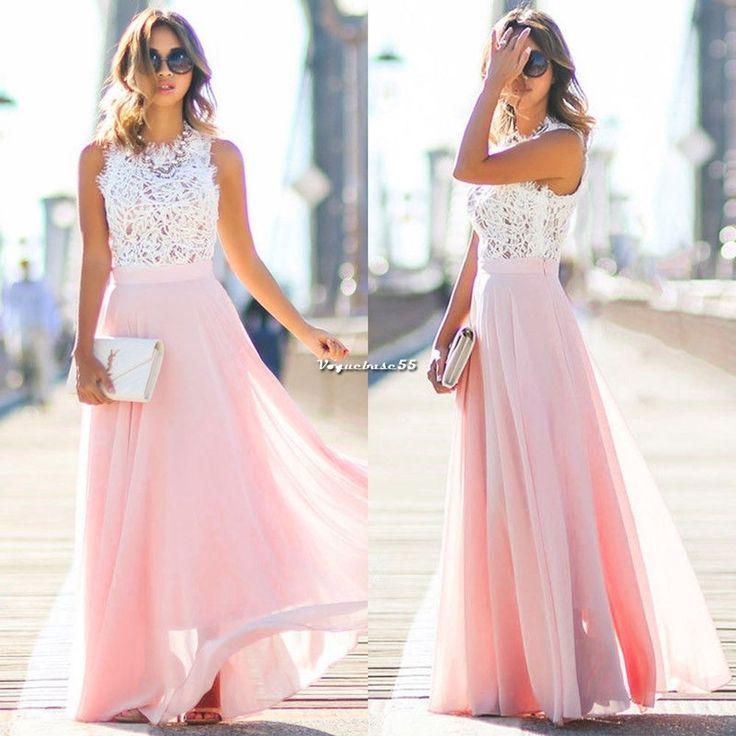 Sommer Damen Spitze Abendkleider Maxikleid Bodenlang Party Hochzeit Kleider Pink in Kleidung & Accessoires, Damenmode, Kleider | eBay!