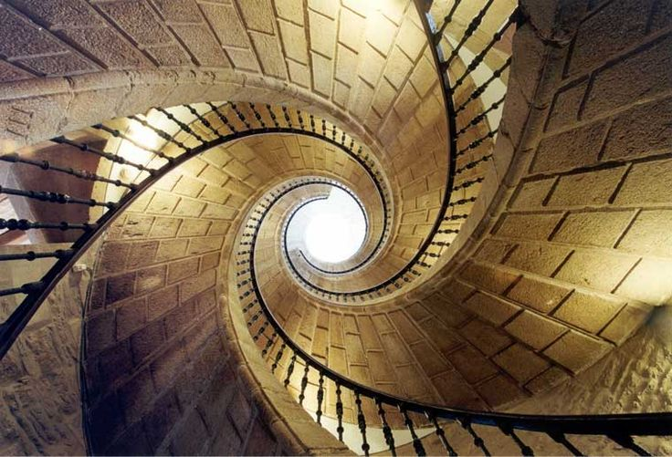 Triple helix spiral staircase in the Museum do Pobo Galego, Spain