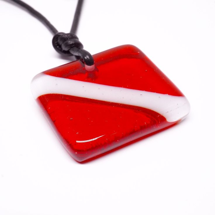 Scuba Diving Necklace Down flag Scuba Jewelry made with art Glass