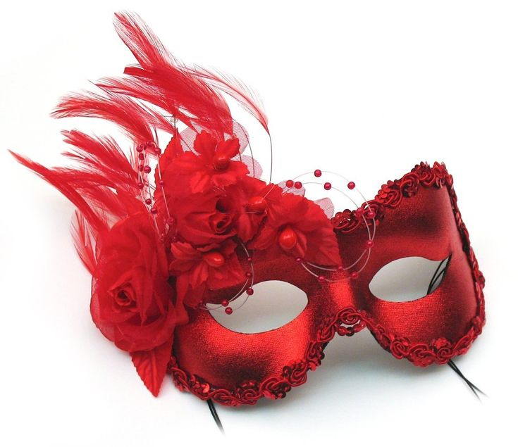 This red masquerade Mardi Gras mask is trimmed with bright sequins and decorated on one side with feathers and silky flowers. Each one is hand finished and is ideal for a Mardi Gras party or Masquerade ball. Click through to find out more and order yours.