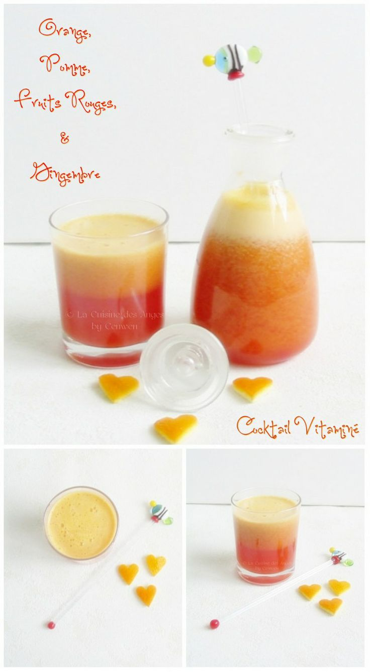 recette de jus de fruits maison, à la centrifugeuse, pomme, orange, gingembre et fruits rouges