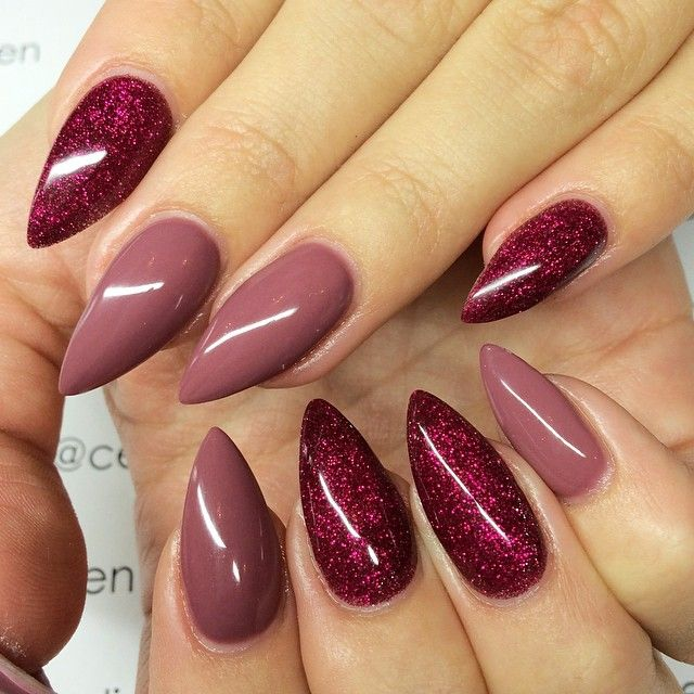 These pointed stiletto nails are perfect for glamming up an outfit. Love the colours!