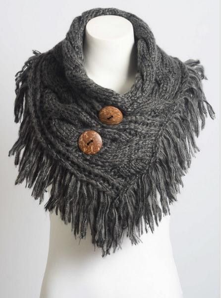 Charcoal Heather Fringe Shoulder Warmer with Coconut Buttons Scarf