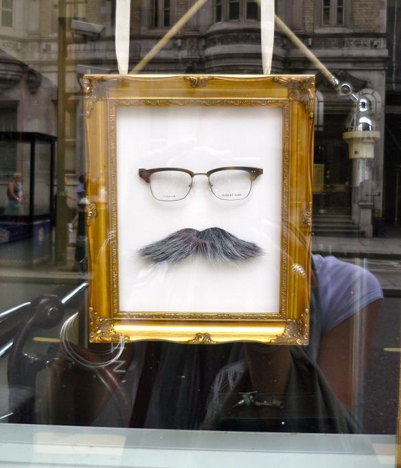 #Movember #Eyeglasses window display - optometrist in Fleet Street.