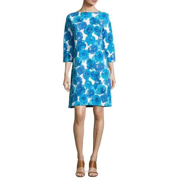 Joan Vass 3/4-Sleeve Floral-Print Shift Dress Petite ($195) ❤ liked on Polyvore featuring dresses, blue pattern, blue print dress, floral pattern dress, floral print dress, flower pattern dress and flower print dress