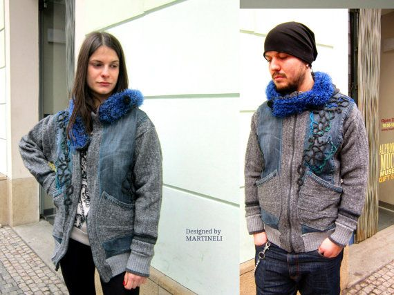 Unisex Denim Sweater,Boho Denim, Patchwork Sweater, Hoodie Sweater
