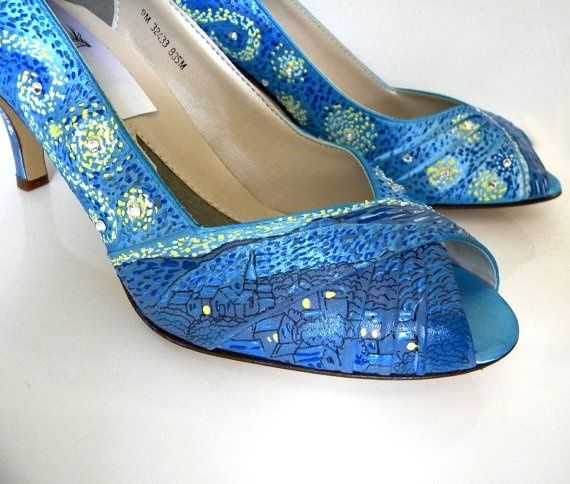 starry night heels | Wedding Shoes Starry Night Swarovski painting famous ... | Wedding Sh ...