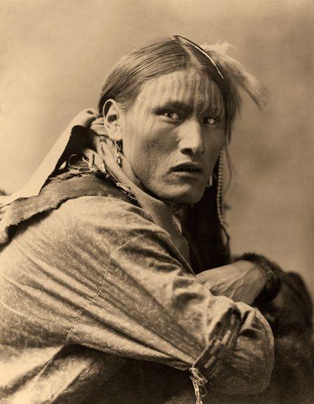 White Belly, Indian Warrior Portrait by Edward Curtis
