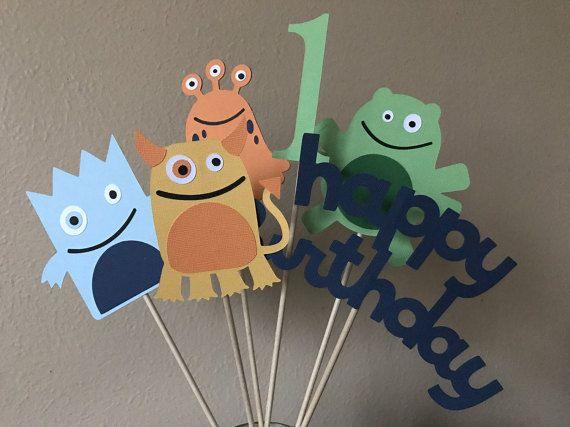 Monster Party Centerpiece Sticks, Little Monster Birthday Party, Halloween Party Centerpiece, Monster 1st Birthday, Monster Centerpiece