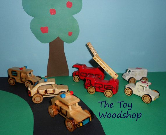 Joining Forces Bundle - Set of 3 Mini Forces Police Van, Ambulance Van, 6-Wheel Fire Truck - by TheToyWoodshop, $24.00