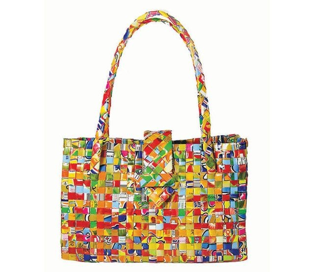 Tote bag woven from recycled juice packs arts and crafts for Arts and crafts tote bags
