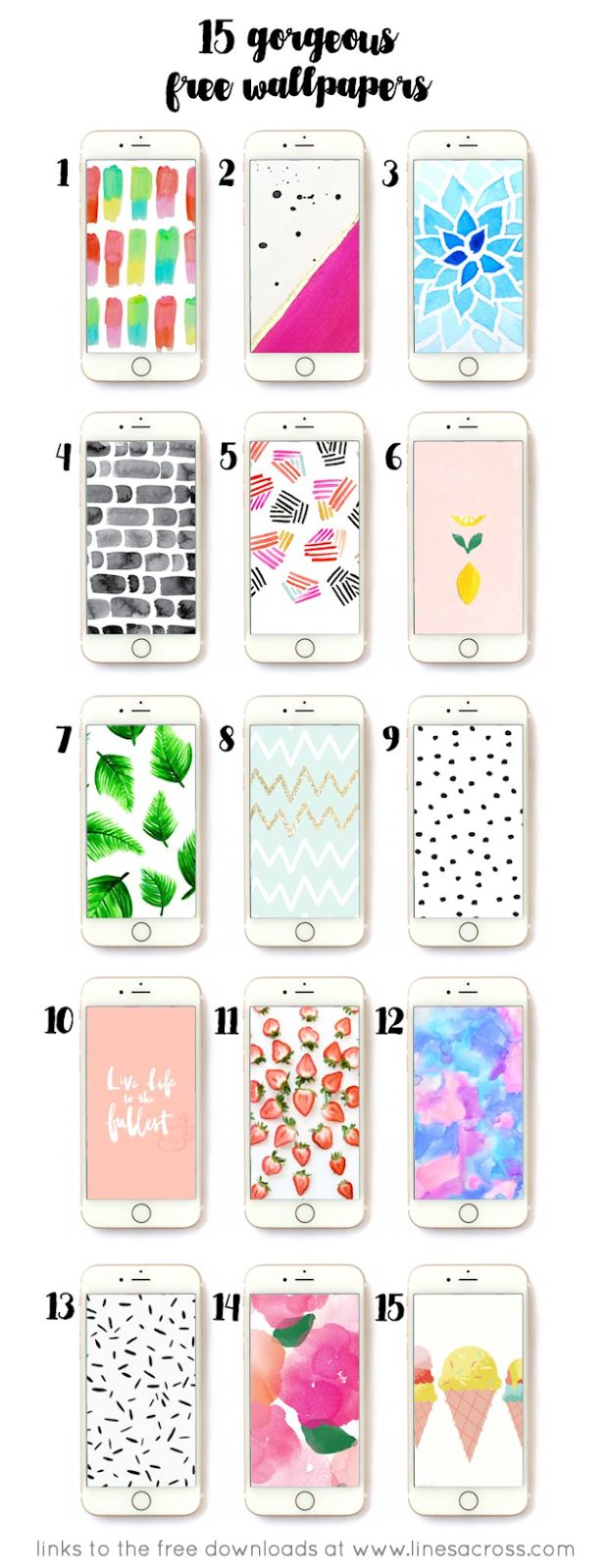 FREEBIE // 15 Gorgeous Free iPhone Wallpapers, with strawberries, floral designs, bricks, leaves, dots, chevron and ice cream cones
