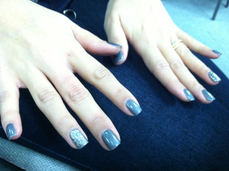 Gelish gray and glitter nails (glitter was mixed personally non branded) gel nail polish. LED light used for Sensationail Kit.