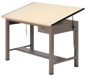 Ranger Steel Four Post Table w Tool Drawer (30 in. L x 42 in. W) by Mayline Group. $694.99. Lock with two keys. Tool drawer with insert tray. Low pressure laminate with steel end cleats. 30 in. L x 42 in. W. Made from thermally fused birch woodgrain. Tool drawer with insert tray. Lock with two keys. Low pressure laminate with steel end cleats. Made from thermally fused birch woodgrain. Tilt Angle: 50 degree horizontal. Top Height: 37 in.. Tool drawer: 10.36 in. W x 27.36 ...