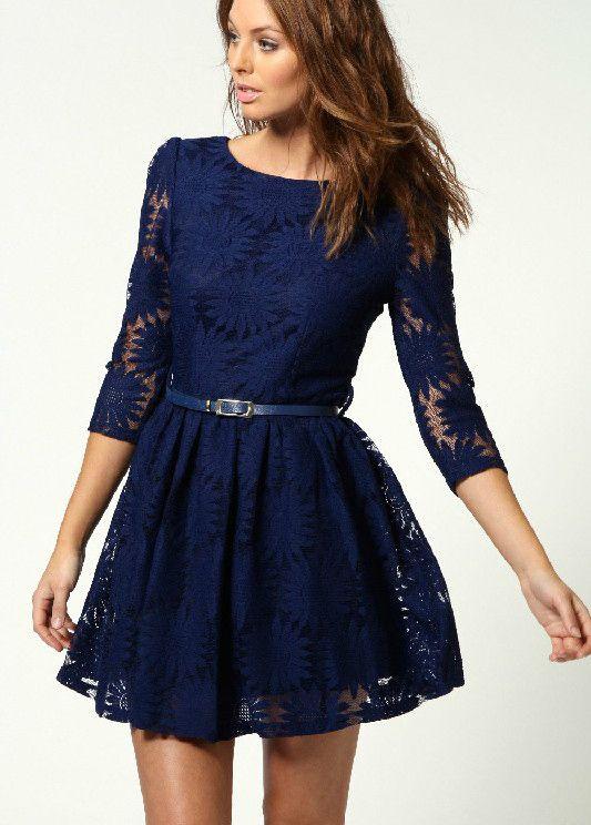 Dark Blue Zipper V-back Sunflower Lace Skater Dress