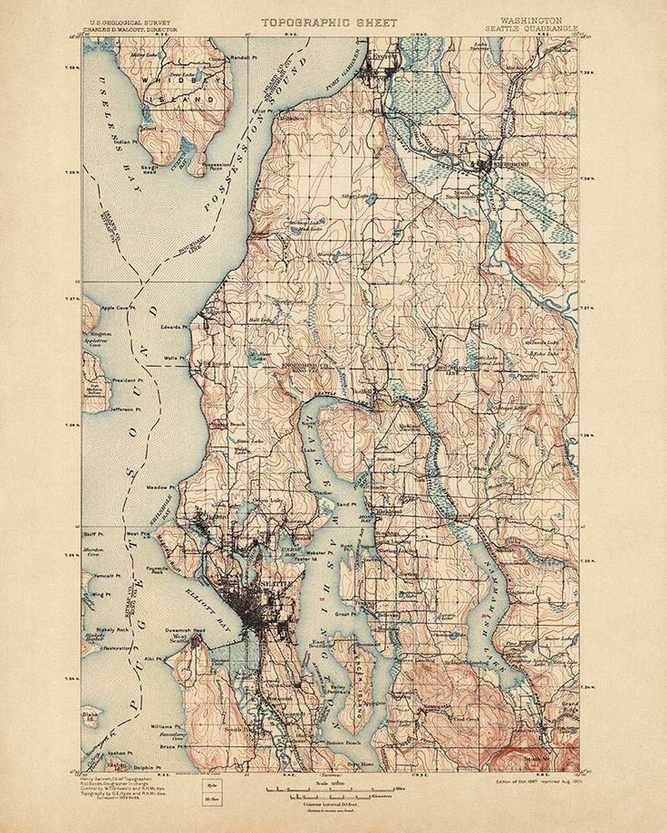 Antique Map of Seattle, Washington (1897) - USGS Topographic Map - 16x20 - Archival Reproduction by BlueMonoclePrints on Etsy https://www.etsy.com/listing/193190670/antique-map-of-seattle-washington-1897