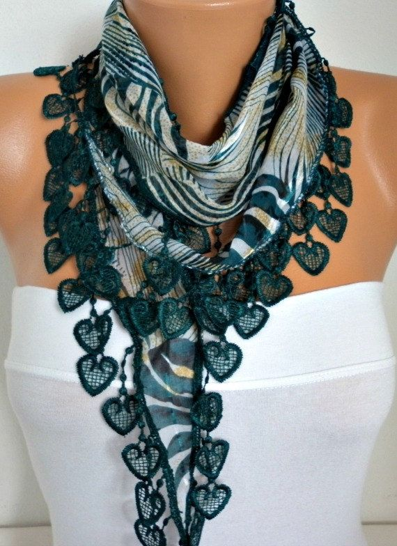 ON SALE - 50% OFF -  Spring Scarf  Heart Scarf  Emerald  Green  Scarf - Cowl Scarf  Shawl Scarf Cotton Scarf - best selling item scarf