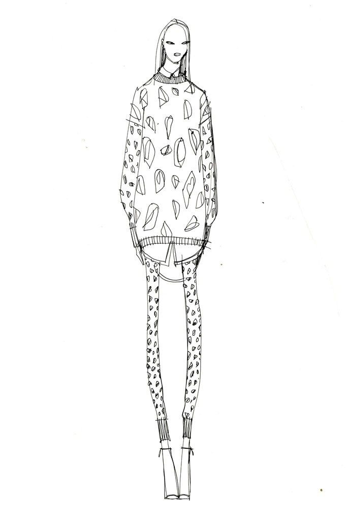 A sketch from #SocialChats and DKNY's first coloring book.