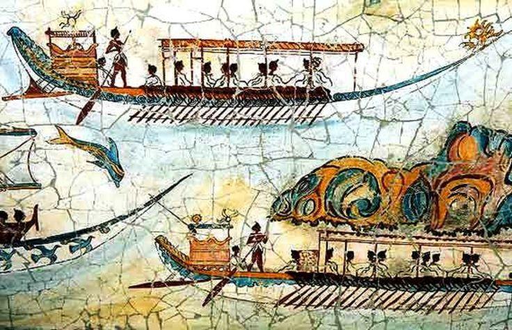Ακρωτήρι Θήρας - Η τοιχογραφία του μινωϊκού στόλου 16ος αιώνας π.Χ. Akrotiri - Island of Santorini - Fresco of minoan fleet 16th Century BC