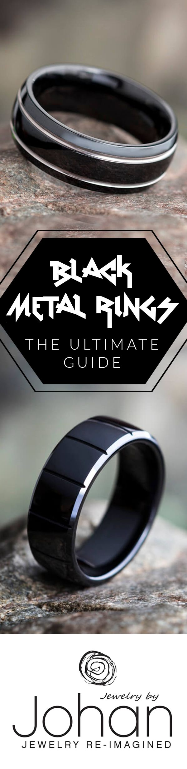Black wedding bands are a huge trend in the wedding world lately. In our Ultimate Guide to Black Metal Rings, you'll learn about the different types of black metals, as well as the pros and cons of choosing black metal for your ring.