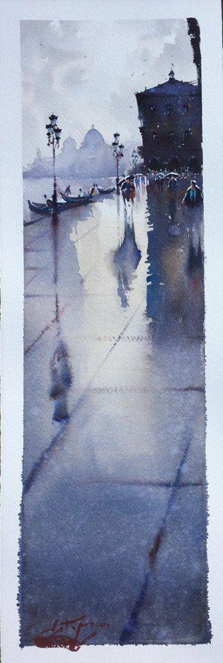 """Gervasio Astapenco    """" Húmedo sobre húmedo en Venecia """" 19cm x 54cm."""