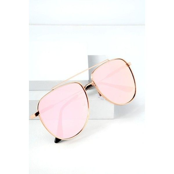 Lulus  Chiara Rose Gold Mirrored Aviator Sunglasses  Pink ($12) ❤ liked on Polyvore featuring accessories, eyewear, sunglasses, pink, mirror sunglasses, pink mirrored sunglasses, mirrored lens sunglasses, rose gold mirrored aviators and mirrored sunglasses