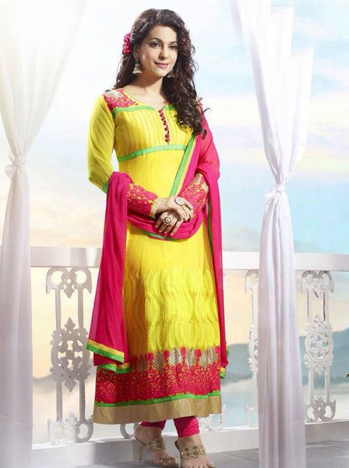 SV-KA0181 at JUST @ $74 Buy at http://www.shopvhop.com/product/bright-yellow-cherish-red-border-juhi-chawala-designer-collection-16006/