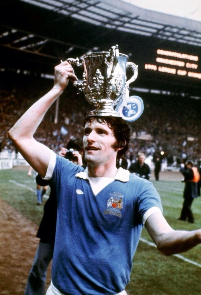 Manchester City's Mike Doyle after winning the League Cup in 1976