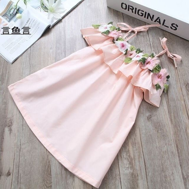 Fair price Free shipping Kids Toddlers Girls Suspender Flowers Shoulder Off Tank Dress Beach Wear Summer Style Pink Yellow White Cotton just only $74.26 with free shipping worldwide  #girlsclothing Plese click on picture to see our special price for you