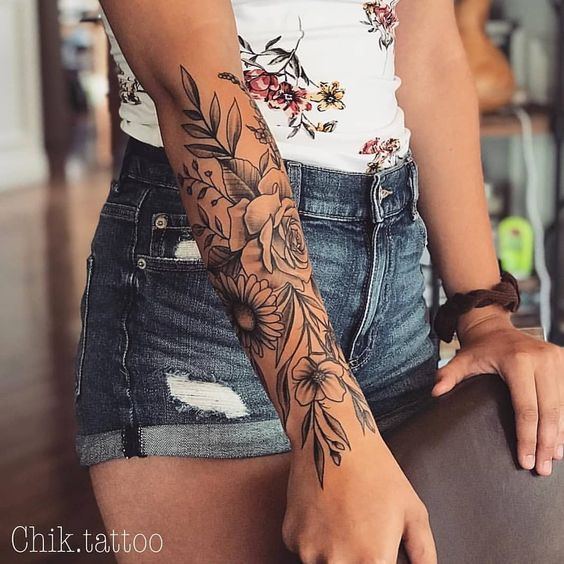 50 Arm Floral Tattoo Designs For Women 2019 – Page 19 of 50