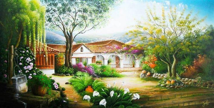 Pintura y fotograf a art stica paisajes colombianos leo - Paisajes de casas de campo ...