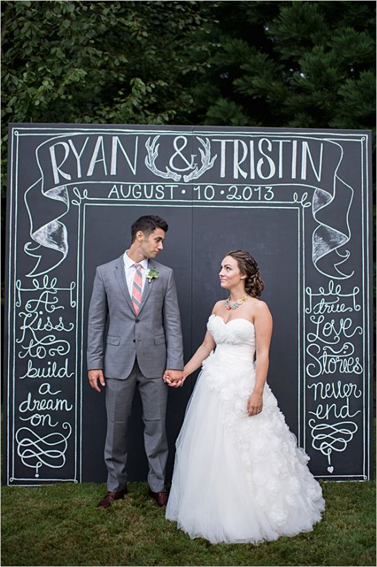 chalkboard wedding sign yep stealing this idea. Plus Polaroids to make a photo booth!
