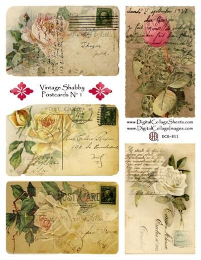 Vintage Shabby PostcardsRose Postcards, Vintage Postcards, Digital Collage, Collage Sheet, Vintage Shabby, Postcards Image, Shabby Postcards, Vintage Rose, Vintage Flowers