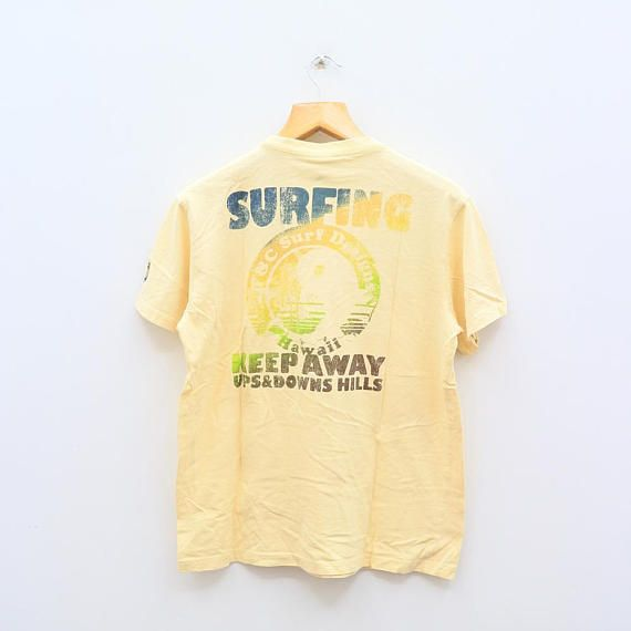 Vintage T&C SURF DESIGNS Town And Country Hawaii Keep Away Ups And Down Hills Yellow Tee T Shirt Size L