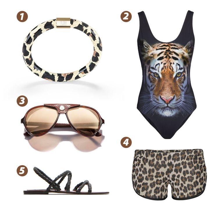 WILD OUTFIT aspettando un po' di sole!   1. MUDRA bangle limited edition animalier; 2. Costume intero con stampa tigre H&M; 3. Occhiali da sole Aviator FERRARI; 4. Pantaloncino animalier TWENTY EASY KAOS; 5. Sandalo in cuoio intrecciato MANGO. #mudragioielli