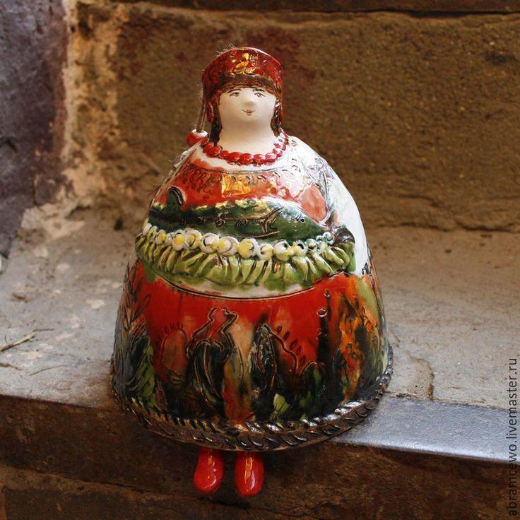 Купить колокольчик Барыня керамика - коричневый, колокольчик керамический, колокольчик керамика, Колокольчик авторский